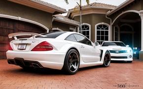 Картинка белый, дом, Mercedes-Benz, Chevrolet, Мерседес, Камаро, Шевроле, Camaro, 360, AMG, and, Muscle car, амг, сл65, …