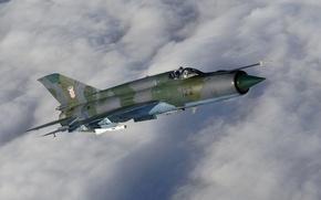 Картинка небо, облака, тучи, самолет, истребитель, многоцелевой, советский, МиГ-21