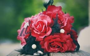 Картинка розы, букет, кольца, красные