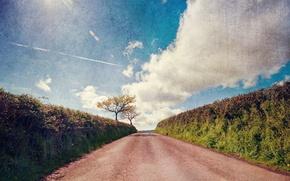 Картинка дорога, пейзаж, стиль, текстура