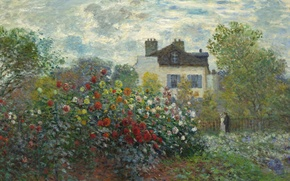 Картинка пейзаж, картина, Клод Моне, Сад Моне в Аржантее
