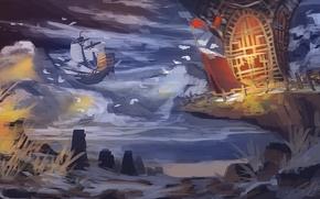 Картинка птицы, камни, скалы, корабль, арт, утёс