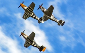 Картинка полет, Mustang, истребители, P-51
