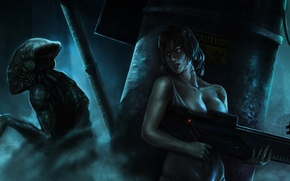 Картинка девушка, оружие, дым, монстр, арт, автомат, пришелец, прячется