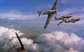 """Картинка небо, рисунок, арт, истребители, Hawker Hurricane, WW2, британские, одноместные, """"Хоукер Харрикейн"""""""