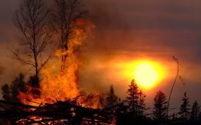 Картинка солнце, огонь, Костер