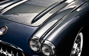 Картинка фон, Corvette, Chevrolet, капот, Шевроле, классика, 1957, Корвет