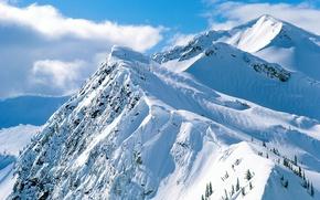 Обои скалы, снег, горы