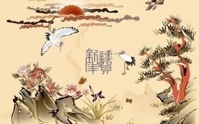 Картинка солнце, деревья, цветы, птицы, иероглифы, китайские мотивы