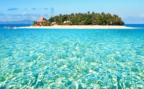 Картинка пальмы, океан, остров, экзотика, island, Fiji