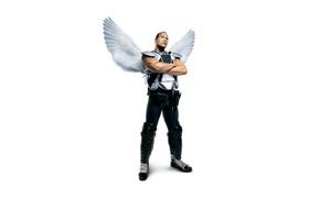 Обои постер, Dwayne Johnson, крылья, ангел, спортсмен, Дуэйн Джонсон, Зубная фея, форма, белый фон, Tooth Fairy, ...