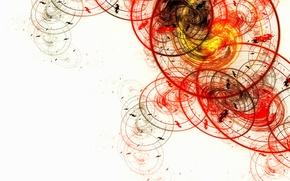 Обои белый, круги, желтый, красный, абстракция, овалы
