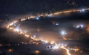 Картинка Bali, Indonesia, Misty Night, Kintamani