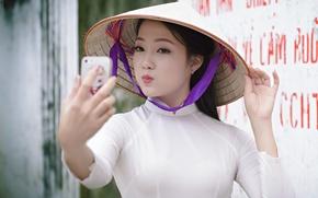 Картинка девушка, лицо, губы, азиатка, селфи, мобилка