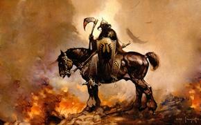 Картинка огонь, лошадь, рисунок, фэнтези, всадник, фразетта