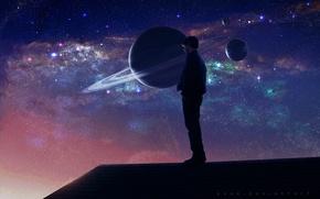 Картинка крыша, космос, ночь