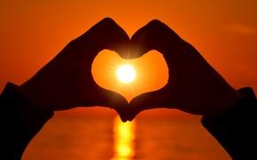 Картинка любовь, сердце, love, heart, sunset, romantic, hands