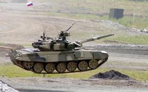 Обои полет, флаг, Россия, т-90