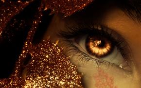 Картинка golden, fantasy, gold, photomanipulation, eye, sparkle