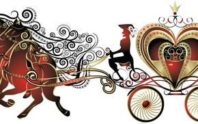 Картинка лошади, белый фон, вожжи, карета. корона. сердце, кучер