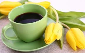 Картинка цветы, кофе, чашка, тюльпаны, yellow, flowers, cup, tulips, coffee, breakfast