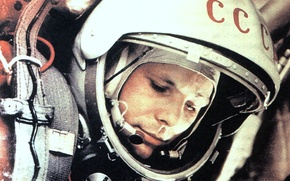 Обои скафандр, Гагарин, первый космонафт