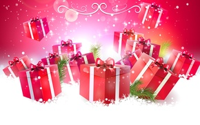 Картинка снег, снежинки, праздник, новый год, подарки