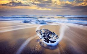 Обои лед, зима, волны, пляж, природа