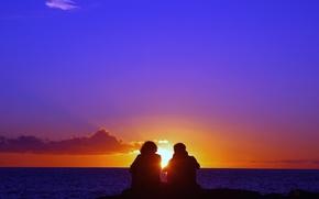 Картинка girl, sky, sea, sunset, clouds, evening, sun, boy, mood, couple, Romantic, silhouette
