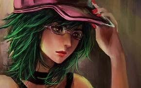 Картинка девушка, рука, арт, очки, кепка, маникюр, RikaMello