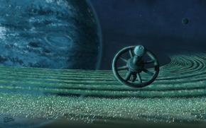 Картинка космос, планета, звёзды, космическая станция, пояс астероидов, Distant Outpost