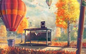 Картинка осень, деревья, воздушные шары, арт, лавочка, берёзы, остановка
