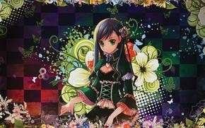 Картинка цветы, аниме, арт, девочка