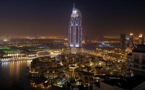 Картинка вода, ночь, город, пальмы, дома, Дубай, отель, Dubai, Emirates, United, Cities, Arab, naght, Арабске, Емираты, ...