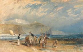 Картинка море, небо, облака, люди, берег, картина, морской пейзаж, Уильям Тёрнер, Folkestone Harbour and Coast to …