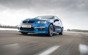 Картинка Зима, Авто, Синий, Машина, Фары, Vauxhall, VXR8, Передок, В Движении, tourer
