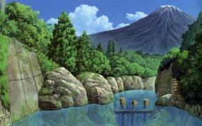 Картинка деревья, река, камни, гора, Япония, дамба, валуны, by Kusanagi