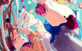 Картинка небо, девушка, аниме, слезы, падение, арт, сладости, торт, пончики, пирожные, кексы, yoneyama mai