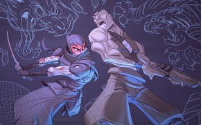 Картинка игры, обои, меч, тату, кинжал, sword, ниндзя, дробовик, ninja, mark of the ninja, паник