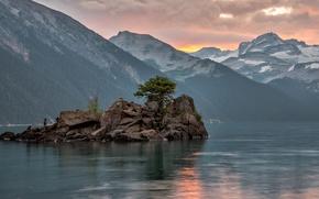 Картинка небо, облака, цветы, горы, скала, озеро