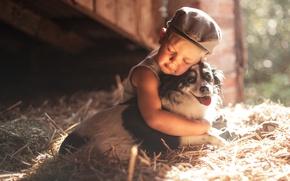 Картинка собака, мальчик, дружба, сено, кепка, друзья