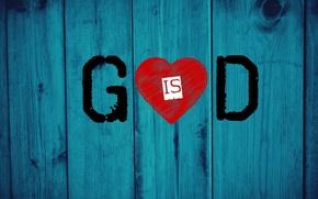 Картинка red, love, heart, wood, God, Jesus, christianity, blue electric, God is love