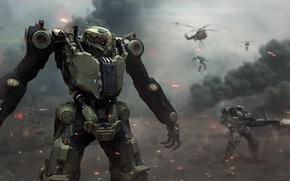 Картинка дым, вертолеты, Роботы, сражение, выстрелы