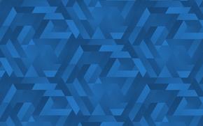 Обои синий, треугольники, текстуры, градиенты