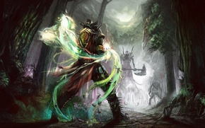 Картинка лес, ночь, камни, пчела, земля, дух, воин, волки, секира, поединок, вызов