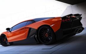 Картинка Lamborghini, карбон, красная, Aventador