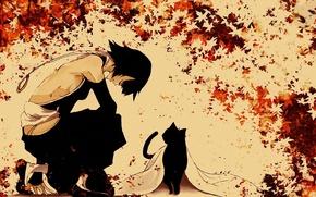 Картинка Bleach, Блич, Shihouin Yoruichi, кленовые листья, на коленях, синигами, черная кошка, Soi Fong, by Tite …