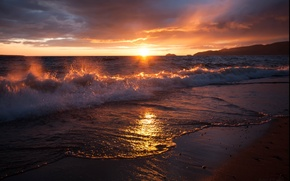 Картинка песок, море, солнце, облака, рассвет, волна, прибой