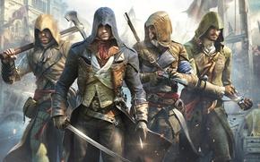 Картинка оружие, здание, топор, ухмылка, Ubisoft, клинок, убийцы, шпага, пистоль, арбалет, напарники, Arno, Арно, Assassin's Creed: …