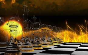 Картинка стекло, абстракция, огонь, игра, шахматы, abstract, клетки, fire, glass, доска, game, фигуры, стратегия, strategy, чёрное ...